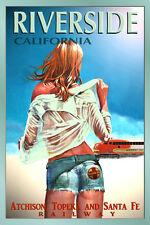RIVERSIDE CA SANTA FE Railroad New Pin Up Train Travel Poster Art Print 099