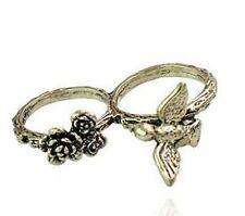 Style vintage bronze oiseaux fleur rose bague double doigts
