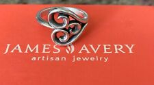 ❤ JAMES AVERY French Heart Swirl Retired Sterling Silver Ring~Size 7.5❤