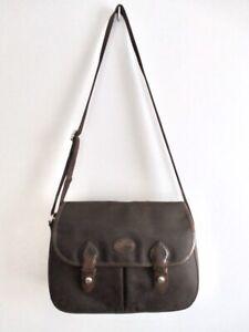 Vintage Longchamp Crossbody Messenger Bag Made in France Dark Brown Medium Nylon