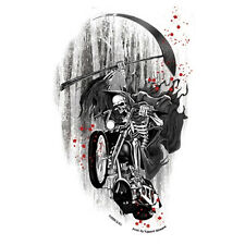 Biker Chopper motocicleta Death Rider parca esqueleto Pegatina Sticker decal