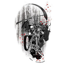 Biker Chopper Motorrad Death Rider Sensenmann Skelett Aufkleber Sticker Decal