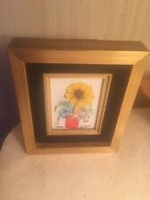 "Floral Still Life Enamel On Porcelain Painting Esterida 7""x5.75"" Framed"
