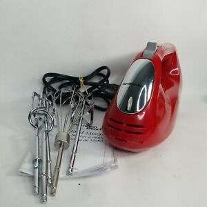 Hamilton Beach 62633R Hand Mixer red Six Speeds 250w w/ Beaters Whisk hook-AC
