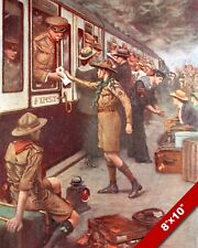 BOY SCOUTS DELIVERING ARMY MAIL WWI WORLD WAR 1 ART PAINTING REAL CANVAS PRINT