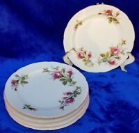 "Lot of 5 Vintage Moss Rose Sango China Japan Scalloped Edge 8"" Salad Plates"