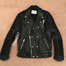 Alessandrini NY Cuero Negro Biker Jacket-Negro con Plateado cremalleras diesel-M Dnm