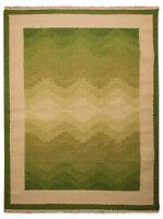 Morgenland tissés à la main Tapis Kelim Vague vert beige à poils ras laine Plat