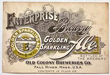 Vintage Beer Label Pre-Pro Enterprise Brewery Golden Sparkling Ale Fall River Ma