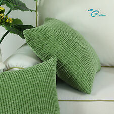 2 Pack Cushion Covers Pillows Cases Corduroy Corn Striped Home Decor 26 X 26