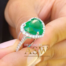 Simulated Diamond Engagement Ring Halo 4.00Ct 14K Solid White Gold Heart Emerald