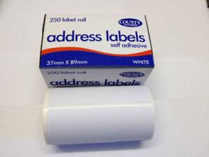 3 Qty X 250 Self Adhesive White address Labels  Roll Sticky Stick  County