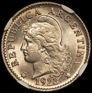 1923 Argentina 5 Centavos Coin - NGC MS 65 - KM# 34 - TOP POP-1