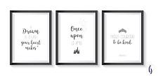 Disney cinderella bedroom A4 prints (set of 3)  grey - little girls bedroom