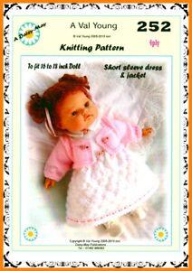 1 DOLLS KNITTING PATTERN 16/18 inch  No.252 A Daisy May pattern