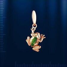 Russische Rose Gold 585 Anhänger mit Emaille FROSCH Niedlich! Glücksanhänger