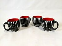 Starbucks Coffee Mugs Lot of 4 2008 Red Black White Dots New Bone China 12 oz