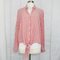 Beach Lunch Lounge Womens XL Top Red White Striped Button Tie Viscose NEW #J