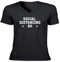 Social Distancing 6ft Unisex Vneck Tee T-Shirt Mens Women Gift Shirts 2020 virus
