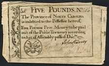 North Carolina Colonial Currency Five Pounds Dec 1771 Rare Note Hw1613