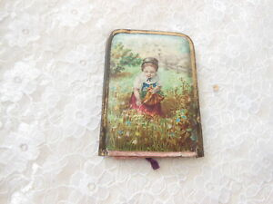 Antique/Victorian Needle Case/Girl Picking Flowers on the Front/Jesse Boulton