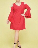 New Lane Bryant Womens Cold Shoulder Bell Sleeve Fit And Flare Dress Size 20 NWT