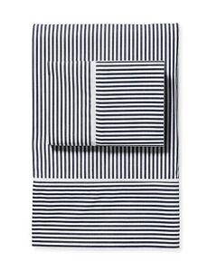 Serena & Lily Oxford Stripe Queen Sheet Set - midnight- NWT