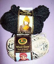 2 Partial Skeins of Lion Brand Wool Ease Thick & Quick Yarn