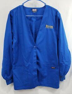 Women's Cherokee Work Wear Lab Jacket Rivier College Royal Blue Gently Used