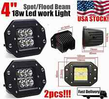 2x 4INCH 18W CREE Square Flood LED Work Light Bar Bumper Off Road TRUCK Jeep 4WD
