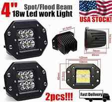 2x 4INCH 18W CREE Square Flood LED Work Light Bar Bumper Off Road TRUCK Jeep 4WD