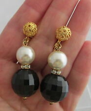 VTG Show Stopper Big Black Faceted Glass Ball Pearl&Rhinestone Dangle Earrings