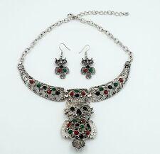Owl Charm Necklace Pendant + Earrings Set Crystal Rhinestone Animal Jewelry ND18
