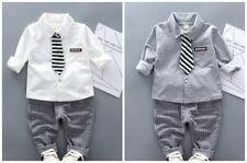 2pcs baby Boys outfits cotton shirt +tie+pants kids wedding party tuxedo set