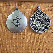 2 x Antique Silver OM/OHM Twelve Chinese Zodiac Signs Double Side Charm Pendant