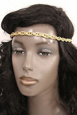 Women Girl Chunky Gold Metal Thick Chains Elastic Head Band Fashion Hair Jewelry