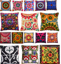 "Vintage Suzani Cushion Cover Boho Embroidered Pillowcase Square 16""Cotton Pillow"