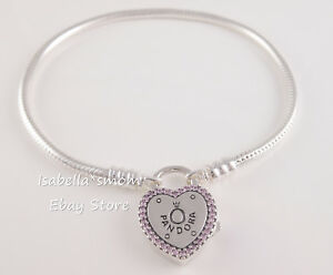 LOCK YOUR PROMISE Authentic PANDORA Pink Love LOGO Bracelet 596586FPC u PICK!
