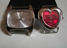 2 SILVER FINISH HEART/RECTANGLE WATCH FACES FOR BEADING,RIBBON OR OTHER USE