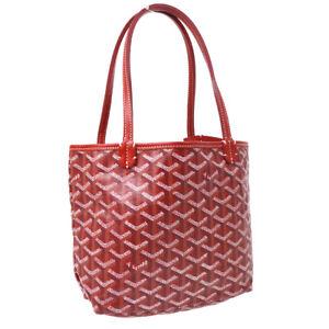 GOYARD SAINT LOUIS JUNIOR Mini Hand Tote Bag Purse Red PVC Leather Auth 01345