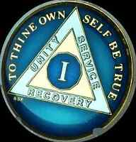 1 Year Midnight Blue AA Medallion Alcoholics Anonymous Chip Gold Tri-Plate one