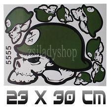 8 Green ROCKSTAR MULISH Motorcycle helmet skull crossbones DECAL RACING Sticker