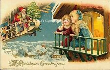 Vintage Victorian Christmas Postcard Printed onto Fabric Victorian Santa Claus