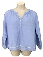 Lucky Brand Peasant Blouse Top Blue Stripe Chambray Embroidered Long-Sleeve XL