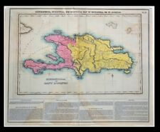 Geographical Statistical Historical Map Hispaniola St. Domingo 1822 Lucas Haiti