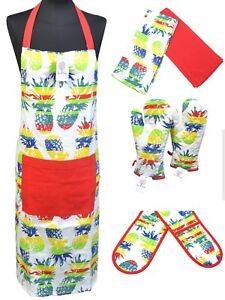 100% Cotton BBQ Cooking Apron Oven Mitt Gloves Tea Towels  Ananas XMAS Gift Sets