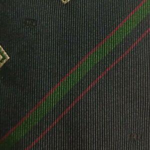 Blue Green Striped Silk DIOR Logos Allover Tie