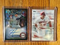 2011 Topps Chrome Freddie Freeman RC Black Refractor Auto /100 & 2018 Mike Trout