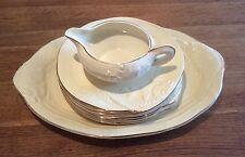 Clarice Cliff cream & gold edged Fish platter, six plates and jug set