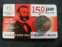 2 Euro Commémorative Coincard Bu Belgique 2014 ; 150 Ans Croix Rouge